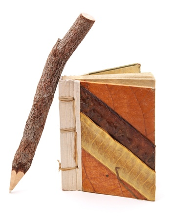 Natural pencil and note pad. Element of design. photo