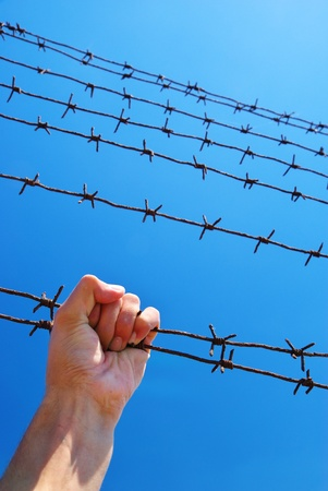 Hand of prison and sky background. Conceptual scene. Stock Photo - 8364388