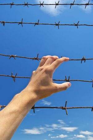 Hand of prison and sky background. Conceptual scene. Stock Photo - 8364389