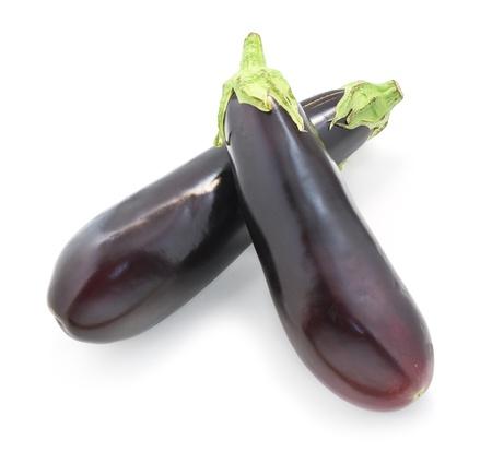 Two isolated eggplant. Element of design. photo