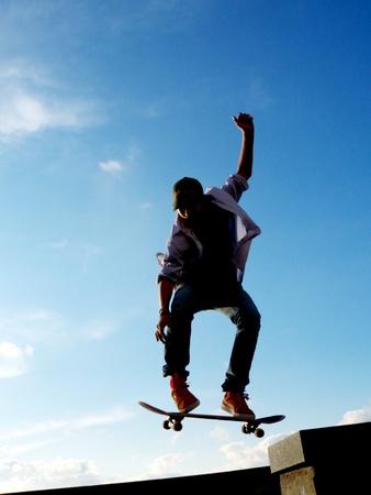skatepark: Stunt of skater. Element of design.  Stock Photo