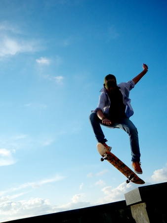 skatepark: Stunt of skater. Element of design.