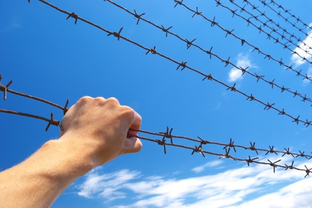 slammer: Hand of prison and sky background. Conceptual scene.