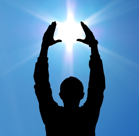 god figure: Sun in hands. Element of design.