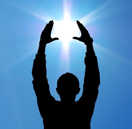 hands of light: Sun in hands. Element of design.
