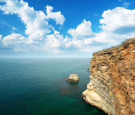 Sea and cliff. Element of nature design. photo
