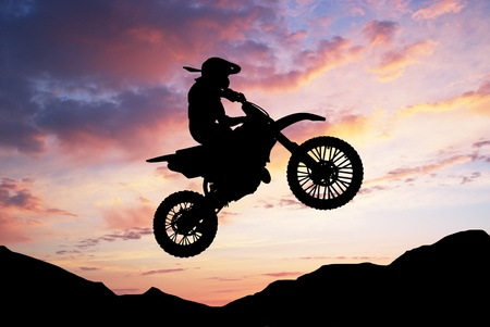 Moto racer in sunny sky. Element of sport design. photo