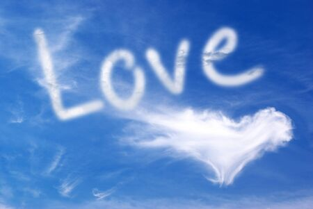 love words: Love and heart in blue sky. Element of design.