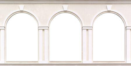 looking through frame: Three windows. Element of design.