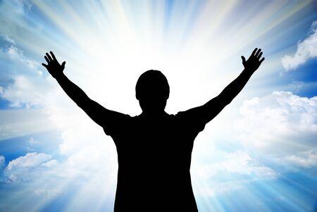 mano de dios: Gran el sol y silueta del hombre. Elemento de dise�o.