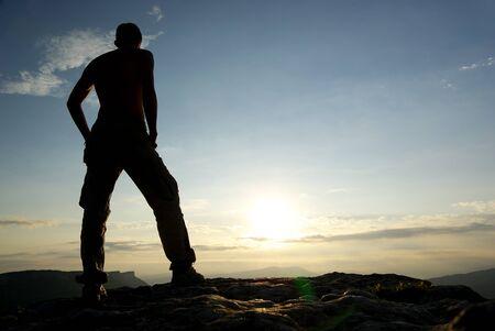 Silhouette of man in mountain. Conceptual scene. Stock Photo - 8934610