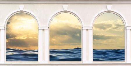 arcos de piedra: Tres ventanas. Elemento de diseño.