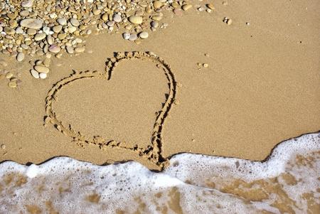 Heart on beach. Romantic composition.  photo