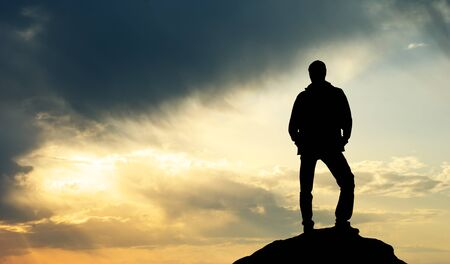 Silhouette of man on sunset. Element of design. Stock Photo - 9046022