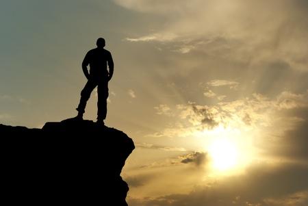 summit: Man on top of mountain. Conceptual design. Stock Photo