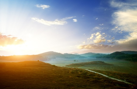 Sunrise composition. Hills of mountain. Stock Photo - 9141353