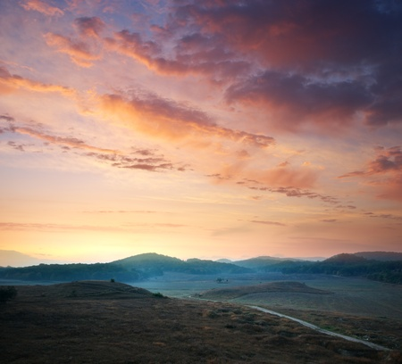 Sunrise composition. Hills of mountain. Stock Photo - 9141364