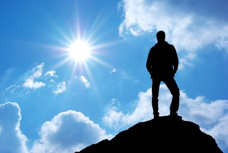 Silhouette of man on sunset. Element of design. Stock Photo - 9474216
