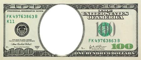 hundred dollar bill: Empty dollar. Element of design.