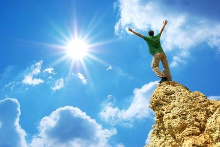 mountain climber: Uomo sulla cima della montagna. Elemento di design. Archivio Fotografico
