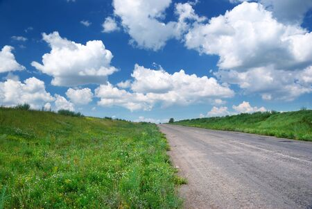 Road in green meadow. Nature composition. Stock Photo - 9913896