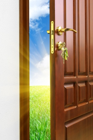 unlocking: Doorway. Element of conceptual design. Stock Photo
