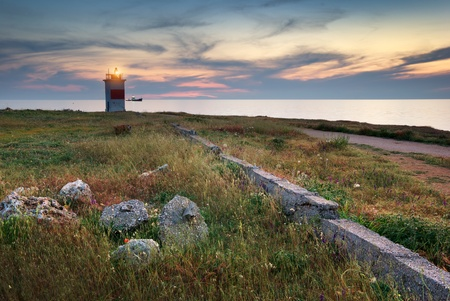 lighthouse at night: Old lighthouse. Composition of nature.