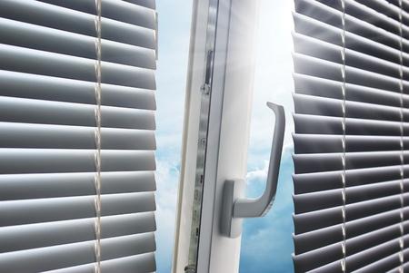 blind: Sun through the window. Element of design.  Stock Photo