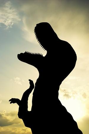 tiranosaurio rex: Silueta de T-Rex. Elemento de diseño. Foto de archivo