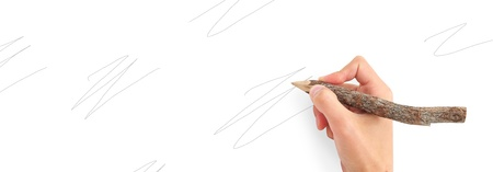 hand holding pen: Hand with pencil. Conceptual design. Stock Photo