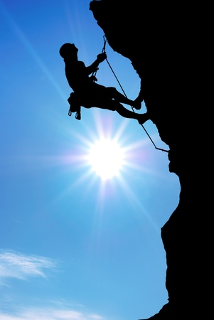 mountaineer: Mountain climber on the top.  Stock Photo