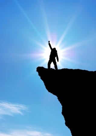 Man op de top van de berg. Conceptueel ontwerp. Stockfoto