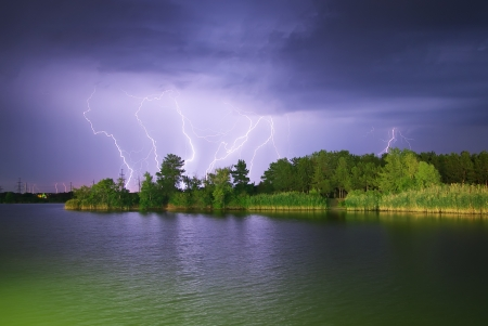 Lightning on the river. Nature composition.