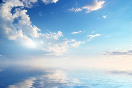 horizon reflection: Sky background on sunset. Nature composition.  Stock Photo