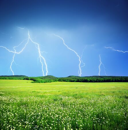 thunderclap: Lightning in meadow. Nature composition.