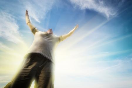 Man to sky. Enotional scene. photo