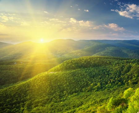 sunshine: Sunny morning in mountain. Beautiful landscape composition.