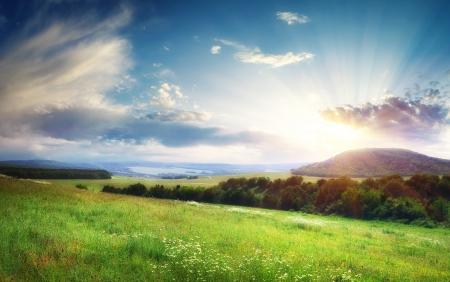 paisaje: Panorama del paisaje hermoso. Composición de la naturaleza.