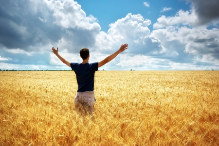 active lifestyle: Man in meadow of wheat. Conceptual composition. Stock Photo