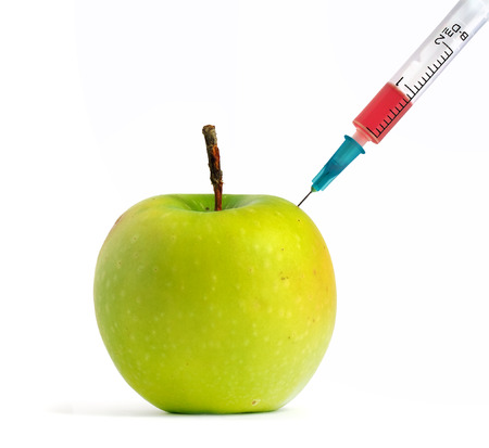 genetically modified: GMO green apple. Isolated object.