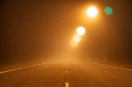 Road in fog. Element of design. photo