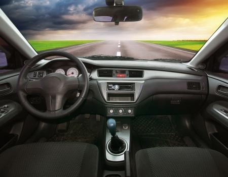 Reizen in de auto. Onderdeel van het ontwerp. Stockfoto