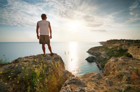 Man relax on sea  Conceptual scene  photo