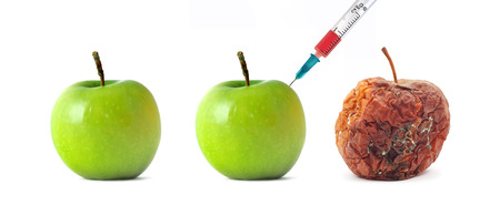 bad apple: Green and rotten. Isolated odject. Element of design. Stock Photo