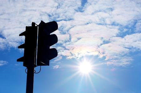 warning lights: Traffic light silhouette. Element of design.