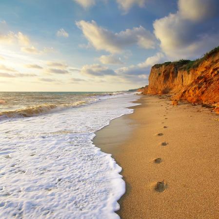 sea mark: Traces on th sea shore. Nature composition. Stock Photo