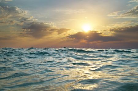horizon reflection: Wave on sunset. Nature composition. Element of design.