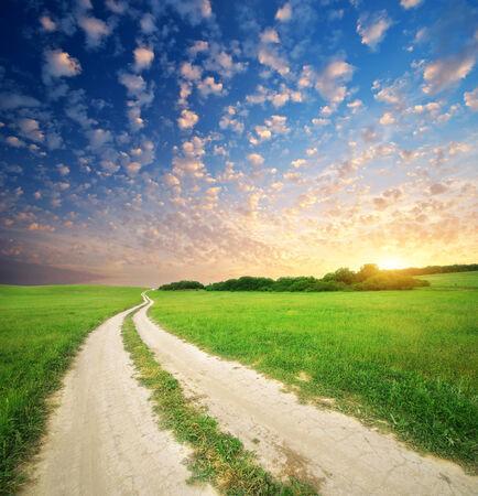 single lane road: Road lane and deep sky. Nature design.