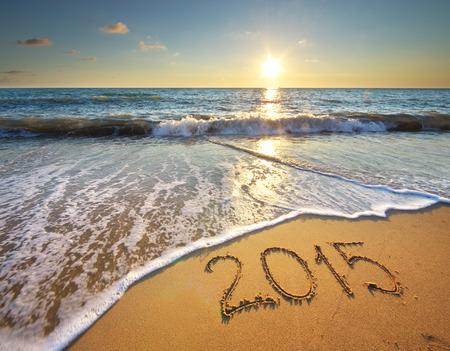 shoreline: 2015 a�os en la orilla del mar. Elemento de dise�o.