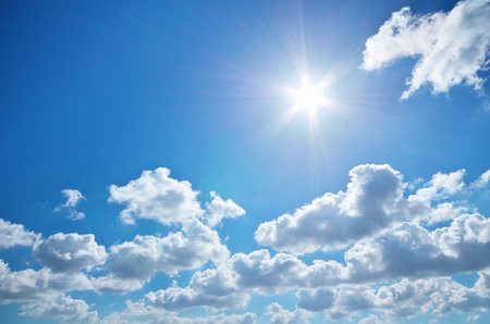 sunlight sky: Deep blue sky. Stock Photo